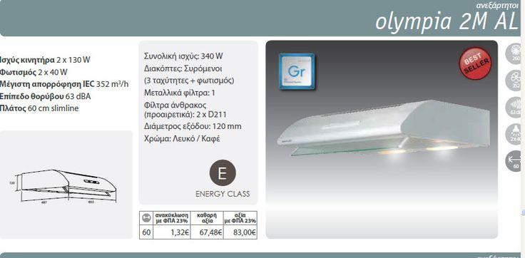 απλός απορροφητήρας OLYMPIA 2M AL DAVOLINE, απορροφητικότητα 352μ3/ώρα, τιμή 80 Ε ΜΕ ΦΠΑ