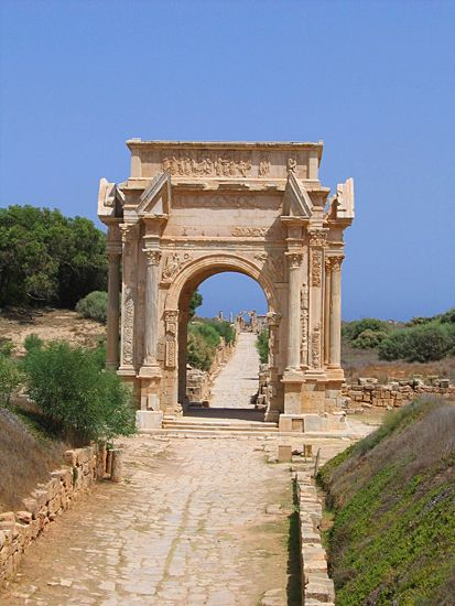 An ancient Roman road runs through the ruins of the ancient city of_Leptis_Magna in #Libya