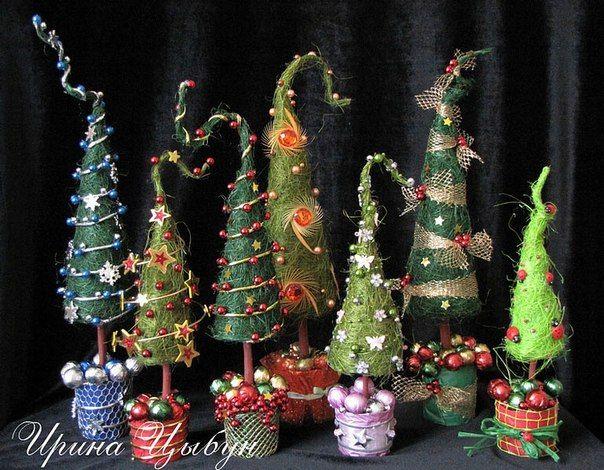 Елочка из сизаля - Новогодние поделки