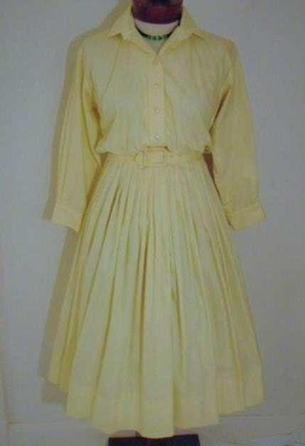 a390666e109 CLASSIC VINTAGE 1950s YELLOW COTTON LACE BACK-PANEL RHINESTONE TRIMMED  SHIRT WAIST CIRCLE SKIRT ROCKABILLY