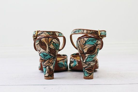 vintage 1950s 50s shoes // Teal Brown and Cream by RococoVintage, $68.00