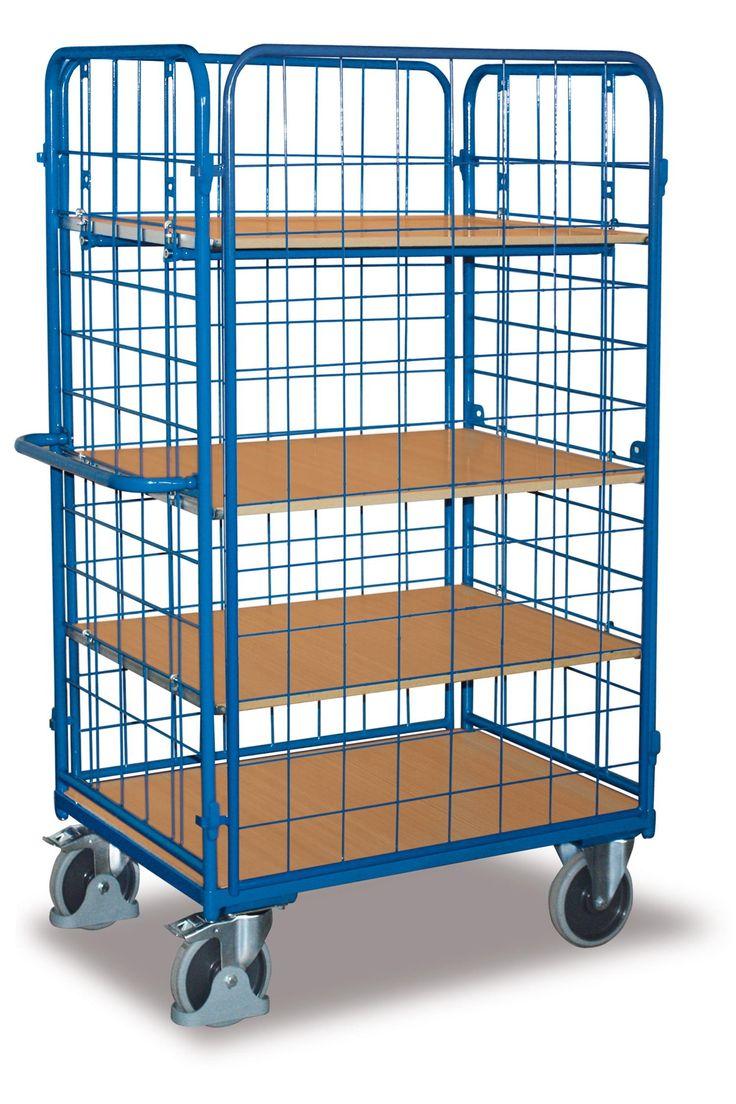 GTARDO.DE:  Etagenwagen hoch, vergittert, Tragkraft 500 kg, Ladefläche 1200 x 800 mm, Maße 1389 x 847 x 1816 mm, Rad 200 mm 537,00 €