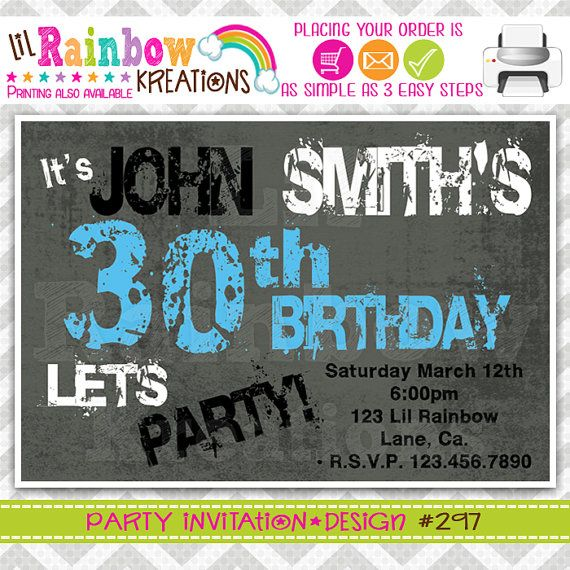297 DIY Retro Grunge Party Invitation Or Thank by LilRbwKreations
