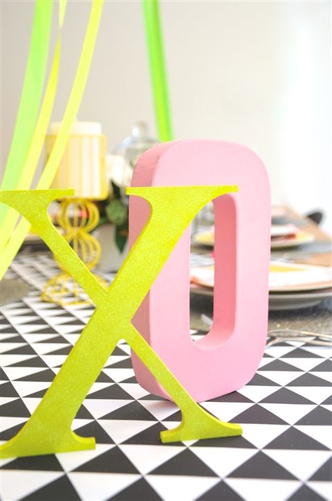 On trend with this geometric neon theme.
