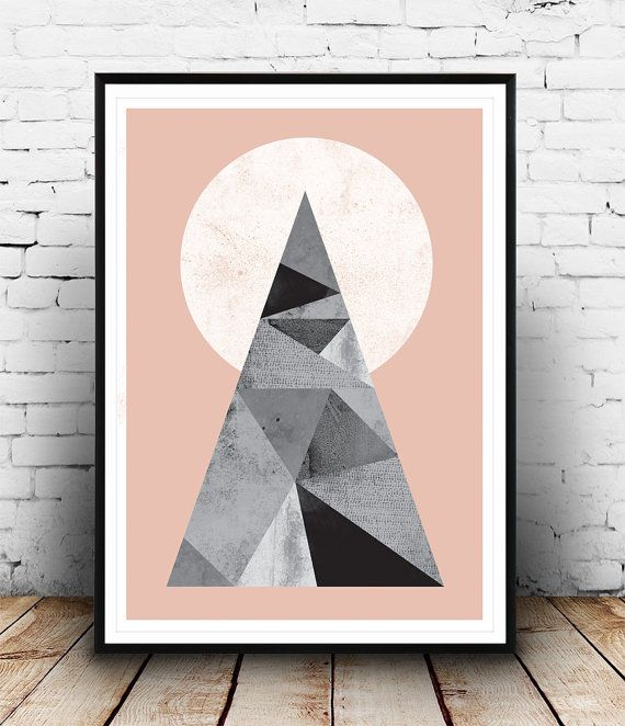 Abstract art Geometric print Triangles poster by Wallzilla on Etsy