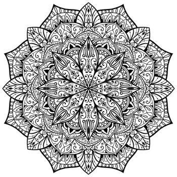 tatouage mandala: ornemental, vecteur, gracieuse, mandala avec de fines lignes noires sur un fond blanc. croquis de tatouage.