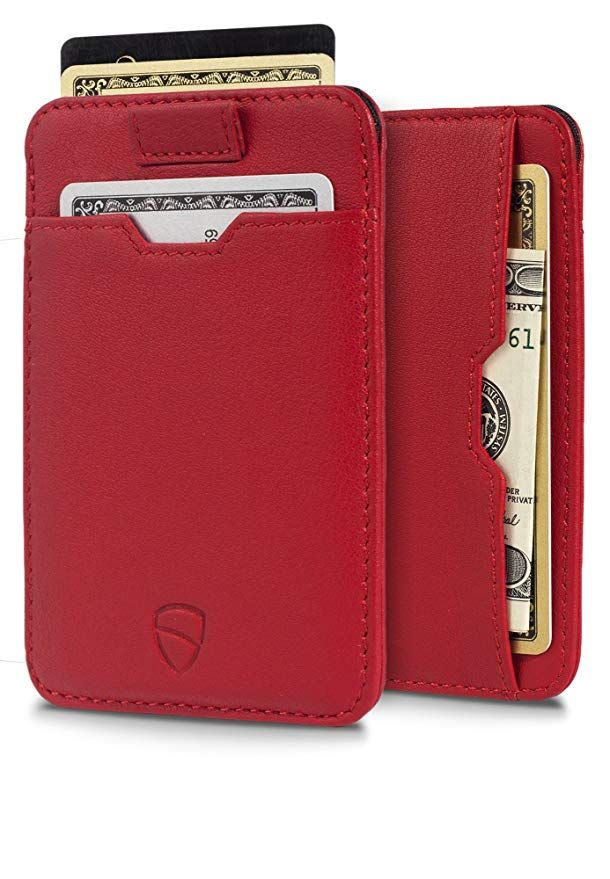 Men/'s Real Leather Credit Card Wallet Holder RFID Blocking Zipper Thin Pocket Bu