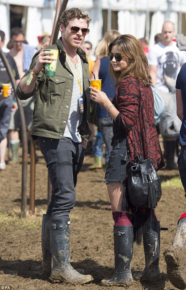 Doctor Who's Jenna Coleman and Games of Thrones star boyfriend Richard Madden looked relaxed as they spent time backstage at Glastonbury on Saturday