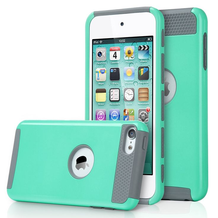 ULAK [2 in 1 Shield Series] Hybrid Hard Case Cover for Apple iPod touch 5 Generation (Aqua Mint/Grey)