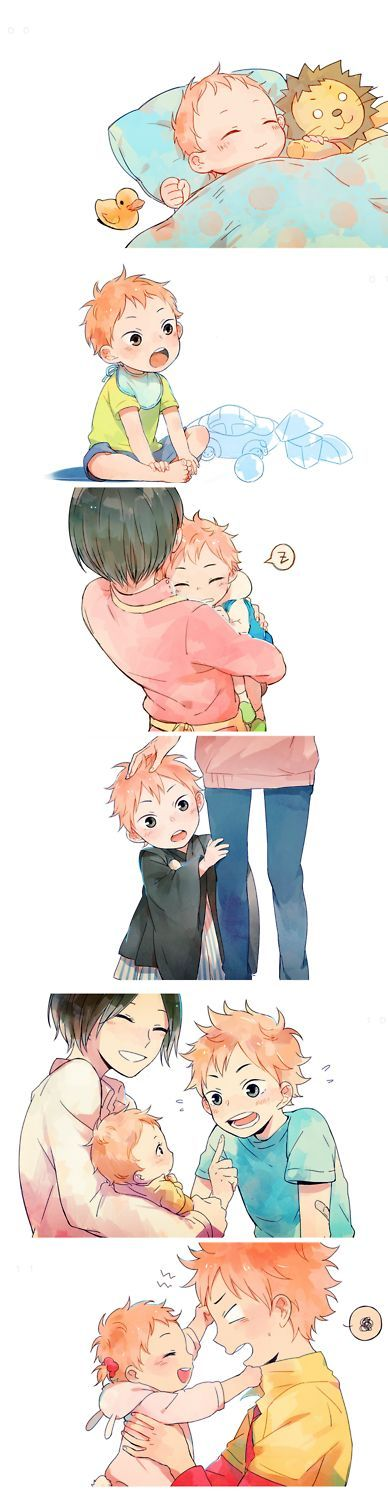Haikyuu!! ~~ Awwwe! Hinata goes from only child to having a little sister. Kawaii!:
