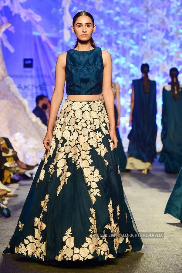 LFW '16 : A model walks the ramp for Manish Malhotra during the Lakme Fashion…