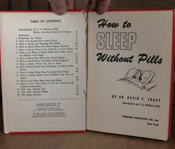 1951 Revised edition of Dr. David F. Tracys How to Sleep Without Pills (HC, 62 pgs) published by Sterling Publishing Co. The book is offers advice about how to break your dependency on sleeping pills. This book is in Good++++ condition. The covers are scuffed and worn (see photos). The front hinge is cracked and the corners bumped. The previous owner did NOT write their name inside.  The binding is loose and the book opens wide. The binding is also slightly cocked (see photo). There are no…