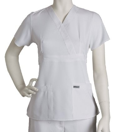I got this scrub top in white and navy.  They are amazingly soft and have good shape!  Amazon.com: Scrubs - Grey's Anatomy by Barco Uniforms Junior Fit for Women #4153 3 Pocket Mock Wrap Scrub Top: Clothing
