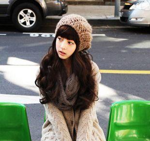 Женский парик женский черный пушистый длинные вьющиеся волосы косой челкой, Провод высокая температура черный большой парик