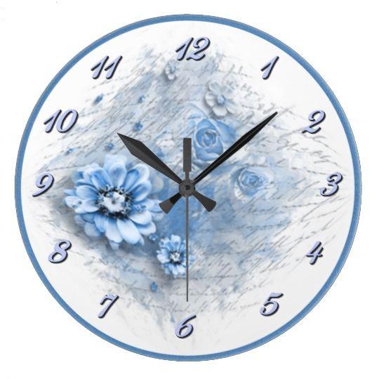 Written In Floral Blue Wall Clock