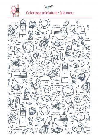 Coloriage anti-stress à imprimer la mer