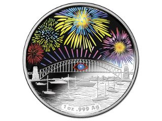$1 Silver Holographic Silver Proof coin. The Sydney New Year's Eve celebrations are well-known all around the world for their stunning fireworks and fascinating Sydney Harbour Bridge Effect. The Royal Australian Mint has partnered with the City of Sydney in a 10 year series to capture this experience on a unique 99.9% fine silver proof coin. #coincollecting
