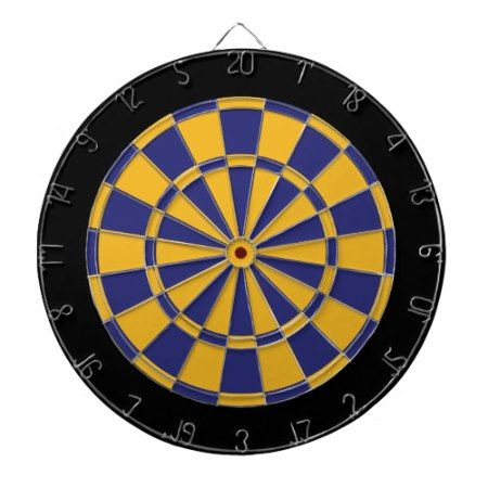 Dart Board: Gold, Navy Blue, And Black Dart Board - tap, personalize, buy right now!