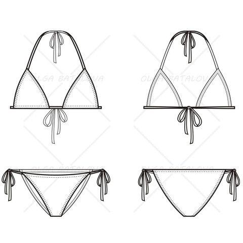 Women's Triangle Bikini Fashion Flat Template