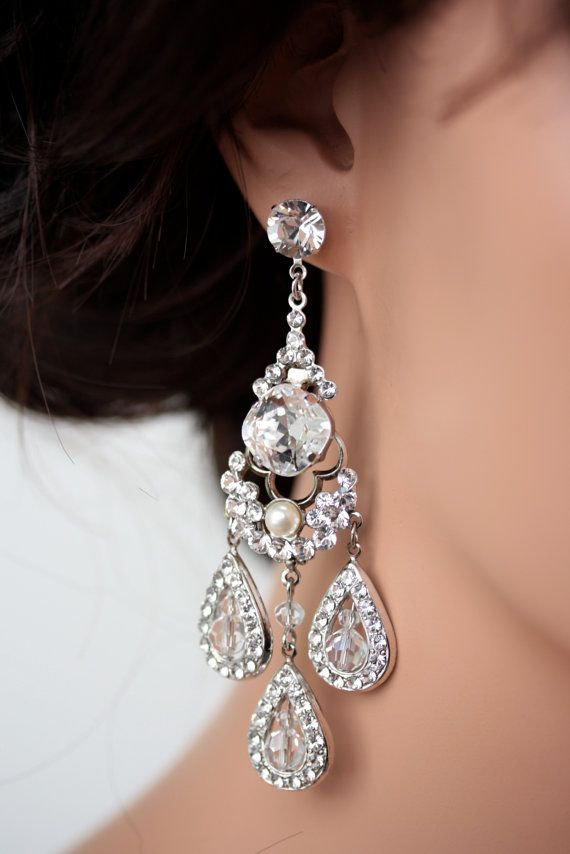 Bridal Earrings Chandelier Large Crystal Rhinestone Majestic Leona