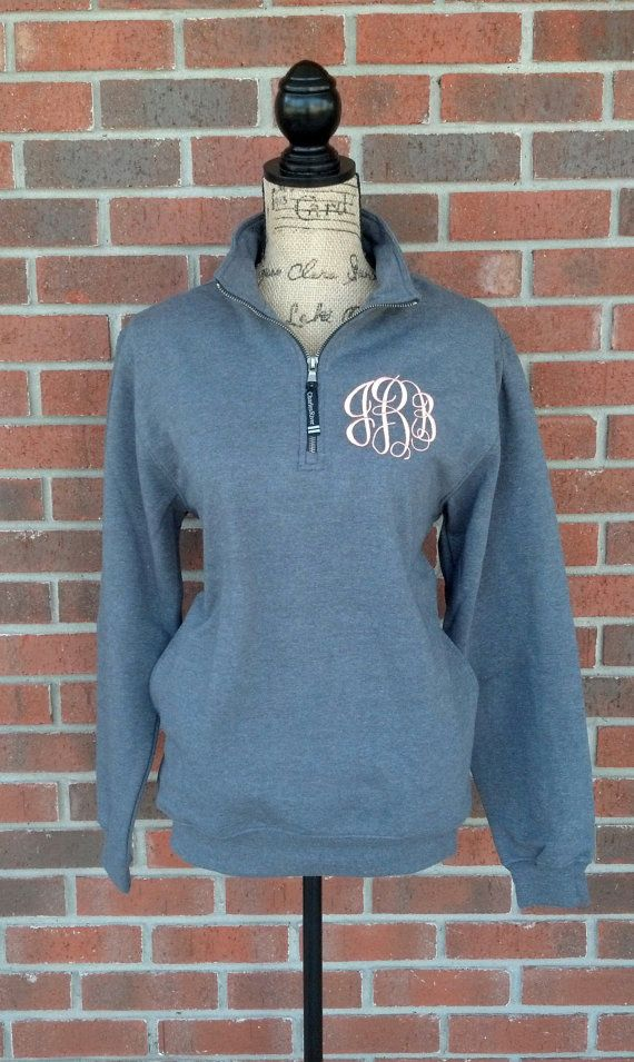 Monogrammed Quarter Zip Sweatshirt with by SweetBelleEmbroidery