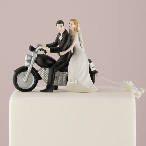 Motorcycle Bride and Groom Cake Topper