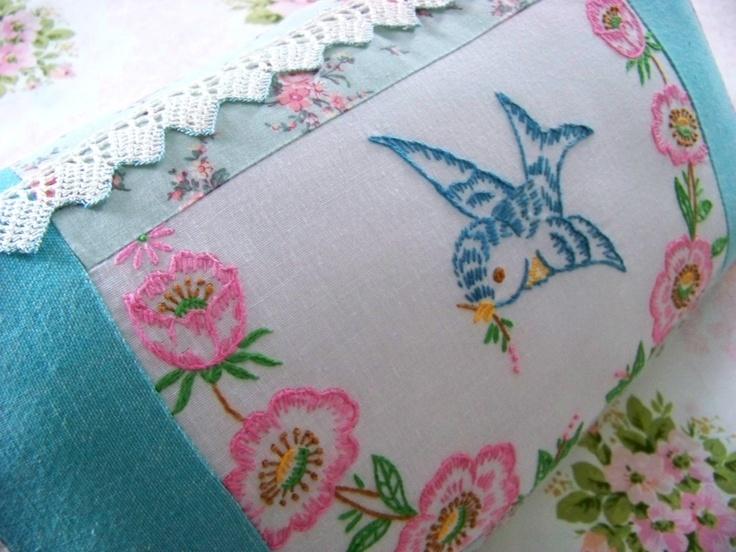 Bluebird Pillow / Embroidered