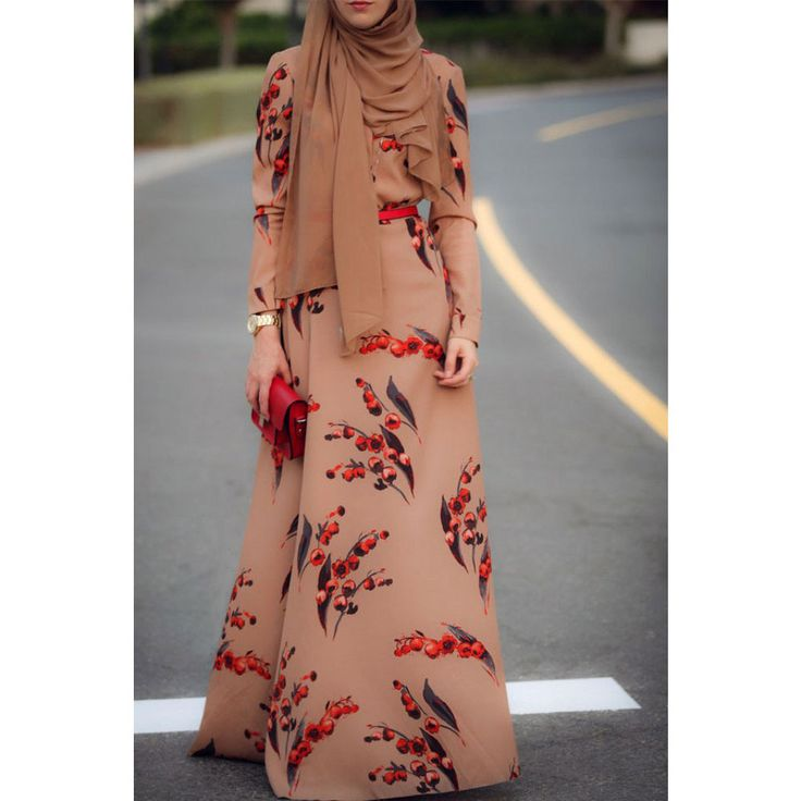 Latest Abaya Designs 2015 Floral Dress Muslim Long Sleeve Maxi Dress