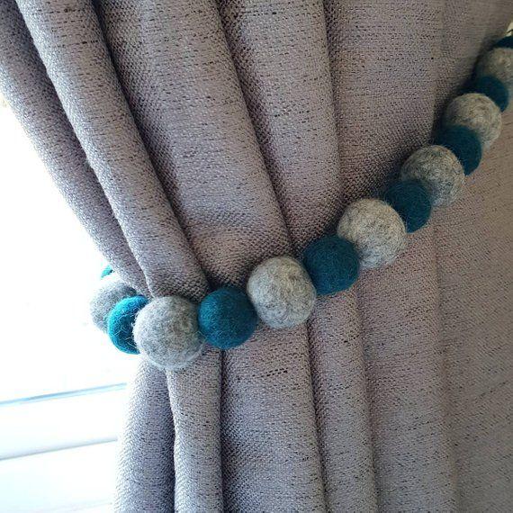 100 Wool Felt Ball Curtain Tiebacks Each Tieback Is