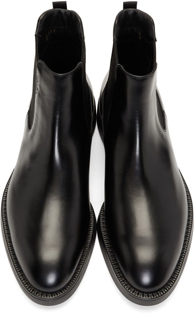 ee4375680a8 Prada - Black Leather Chelsea Boots