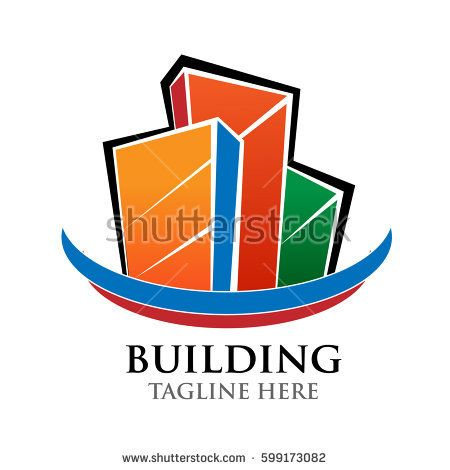 building vector logo, construction, business, apartement, with colorful and template letters: Trajan Pro