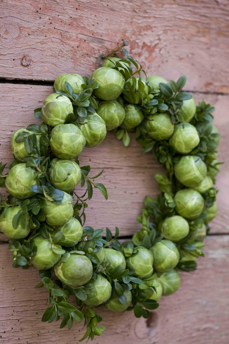 brussel sprouts: Holiday Wreaths, Idea, Sprouts Wreaths, Brusselsprout, Brussels Sprouts, Christmas, Fall Wreaths, Holidays Wreaths, Brussel Sprouts