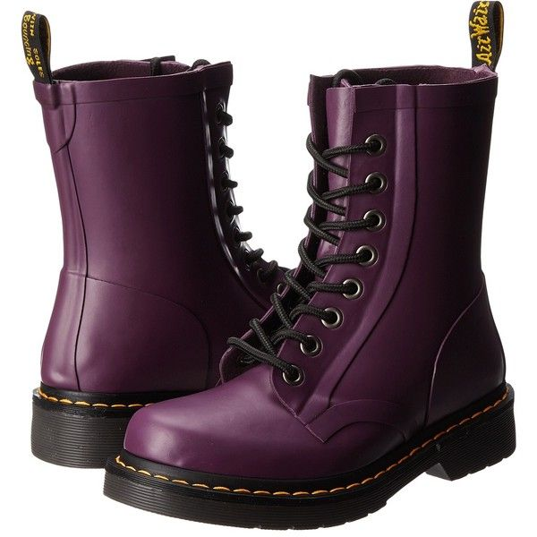 Dr. Martens Drench 8-Eye Boot Women's Lace-up Boots ($50) ❤ liked on Polyvore featuring shoes, boots, ankle booties, botas, purple, ankle boots, matt purple, waterproof ankle boots, purple ankle boots and laced booties
