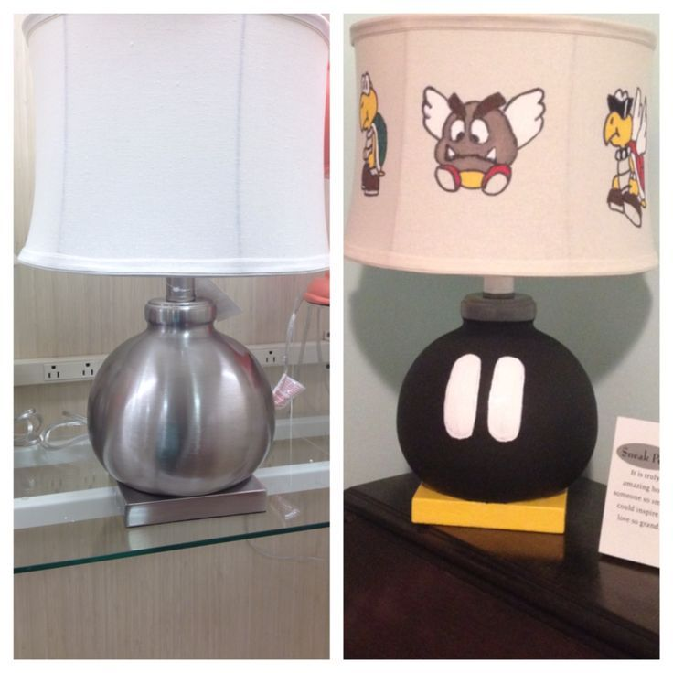 Bob omb lamp before and after the kindergarten of Super Mario Bros.