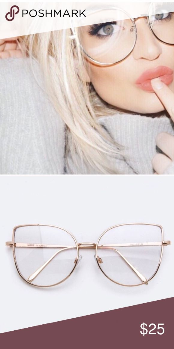 Cat Eye Oversized Glasses - Vintage Vintage Oversized Cat Eye Glasses   Hipster Look  - Gold Frames - Clear Lens  - Comfortable & Hipster  - NEW!  - Cat Eye Oversized Shape  - Vintage Grandpa Style Look American Vintage Accessories Glasses