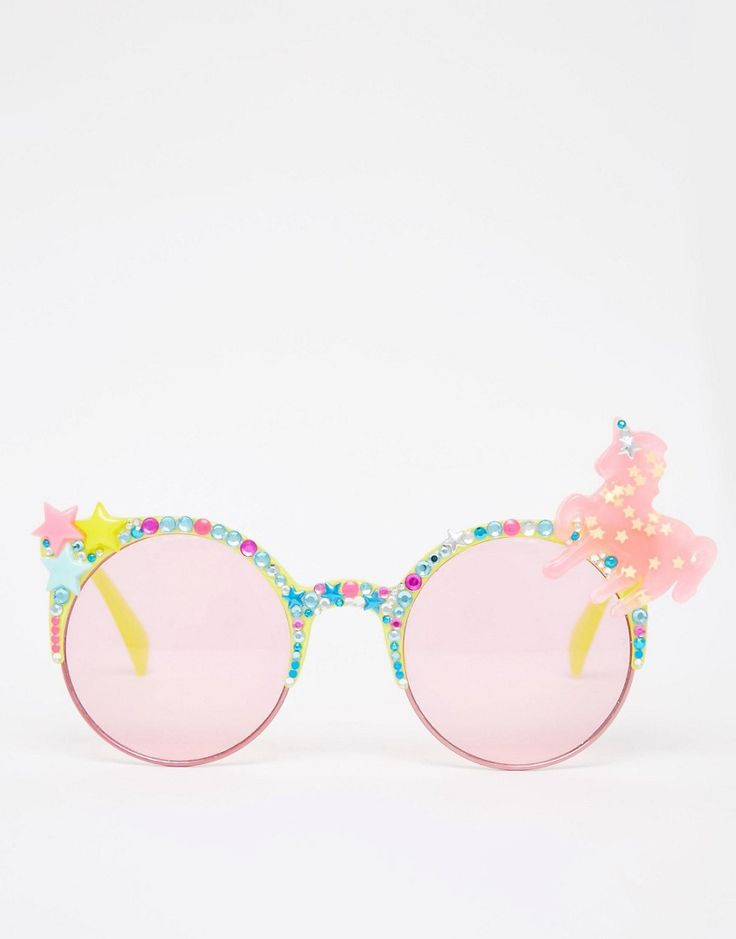 Spangled Unicorn Sunglasses with Yellow Frame