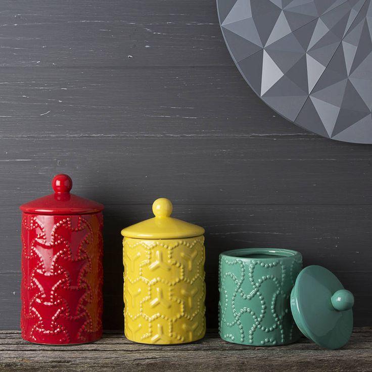 Geometric Design Ceramic Storage Jar