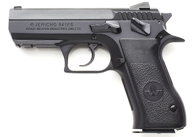 IWI US announced that the steel frame Jericho 941 pistols announced in December are now shipping to US distributors. The new handguns are available in 9mm, .40 S&W and .45 ACP. The 9mm and .40 S&W pistols will be available in both a full size and compact version. The .45 caliber handgun will be only available as a compact model.  All guns will have a Picatinny-style accessory rail for a light or laser. Each pistol will come with two magazines and a lockable carrying case.