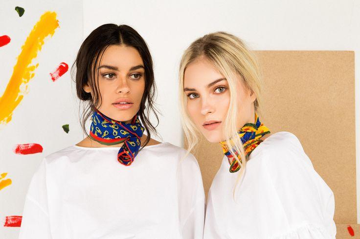 Marlow London's colourful neck scarves; 60cmx60cm, 100% silk twill