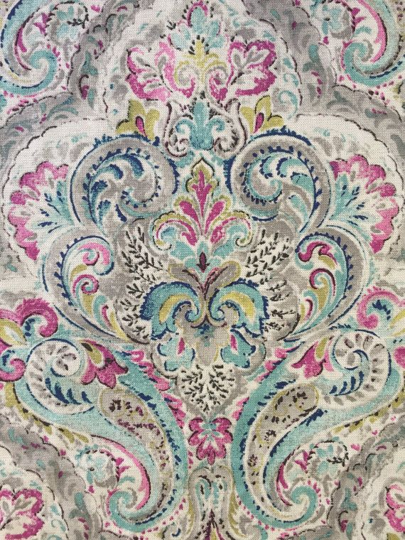 Brighton Mint Damask  Upholstery Fabric by the by ShopMyFabrics