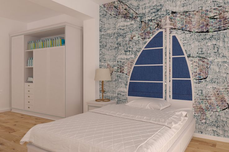#wallprint #white #bed #ultramarineblue  #closet #wood #bed #bedroom  #bedlamp