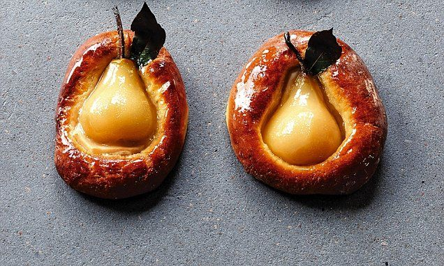 James Martin's perfect puds: Poached pear halves baked in brioche