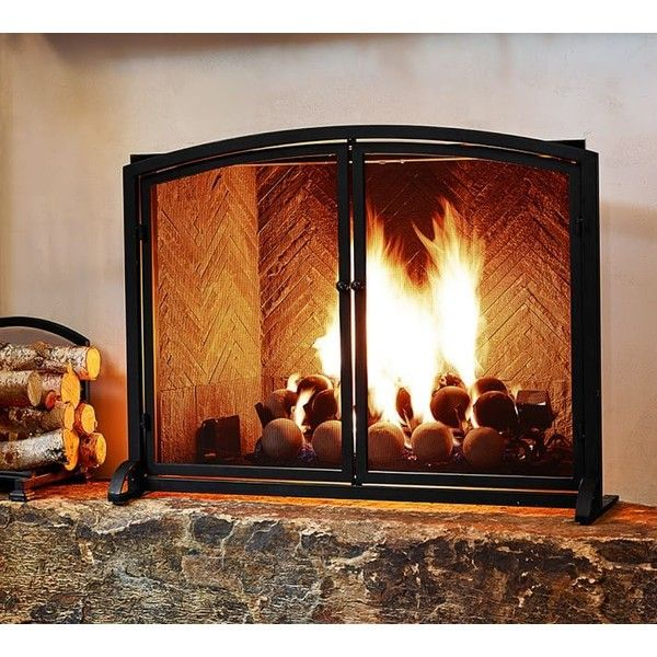 Pottery Barn PB Classic Fireplace Single Screen ($199) ❤ liked on Polyvore featuring home, home decor, fireplace accessories, cast iron home decor, fireplace tool kit, fireplace screens, fireplace broom and hearth tool set