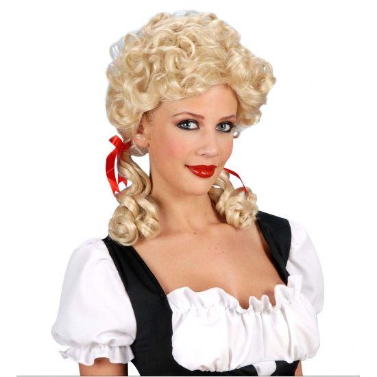 Boerinnenpruik blond voor dames  Blonde damespruik met krullen en twee kleine staartjes. Boerinnen pruik luxe model.  EUR 18.95  Meer informatie