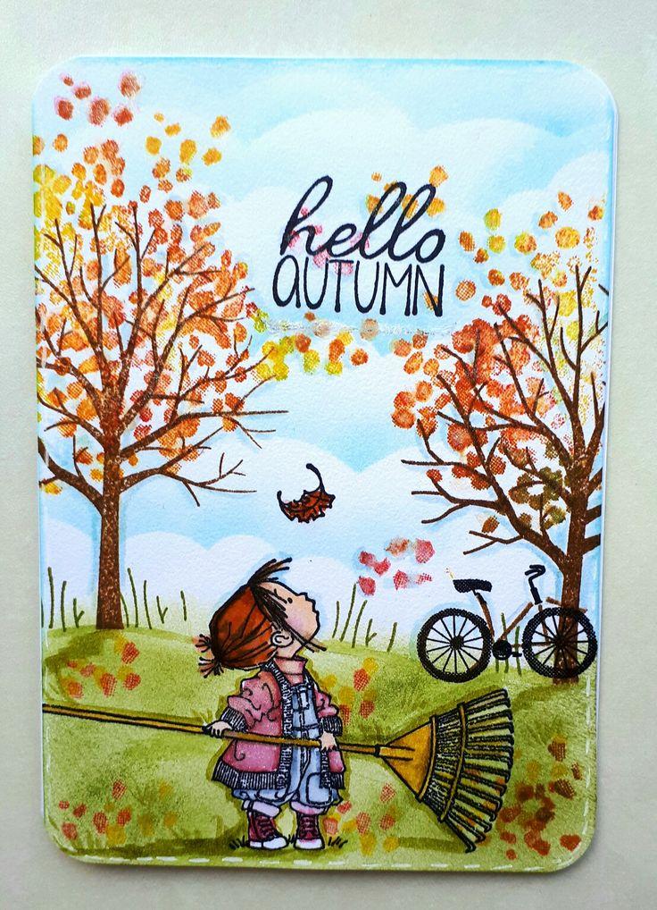 Sheltering tree van stampin up en  hello autumn van Penny black.