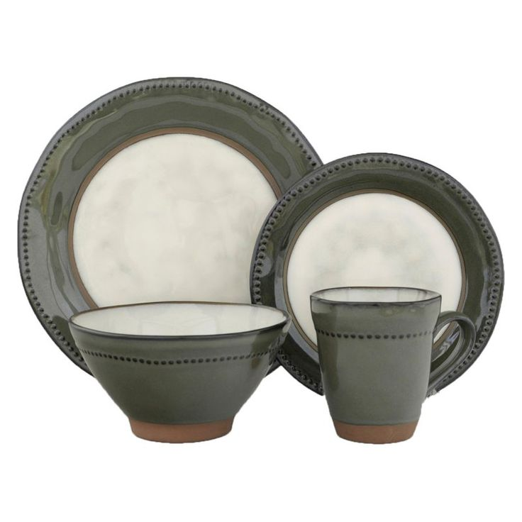 Sango Centrics 16 Piece Dinnerware Set Jade - 4687-16W