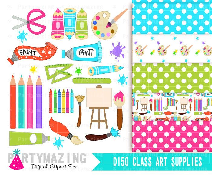 Art Class ClipArt, Art Class Supplies, Paint Clipart, Art Party Clip Art, Instant Download D150 by Partymazing on Etsy https://www.etsy.com/uk/listing/223606265/art-class-clipart-art-class-supplies