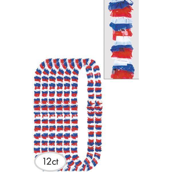 Red White & Blue Patriotic Leis 12ct