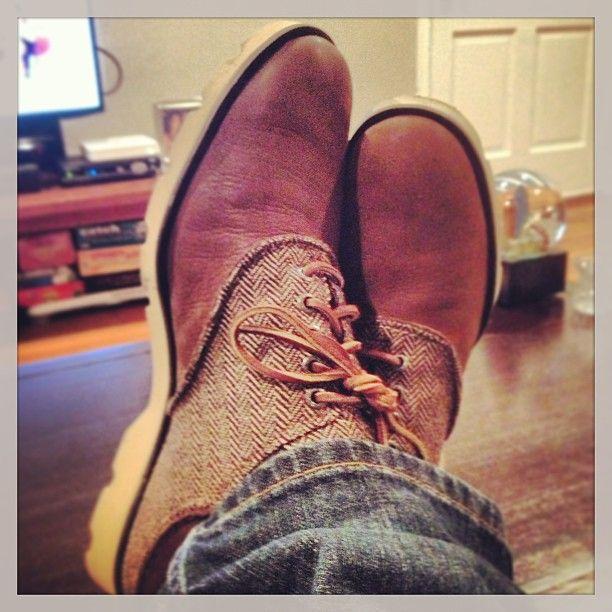 leather/tweed Sperrys