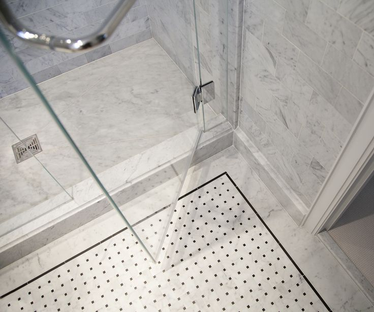 Floor Design, : Contemporary White Bathroom Decoration With White Marble  Basketweave Tile Along With White Marble Bathroom Wall And Glass Shower Door Part 93